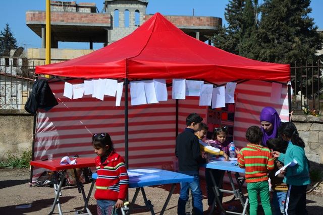 Temporary Child Friendly Space during distribution
